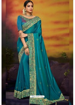 Teal Designer Party Wear Two Tone Heavy Satin Silk Sari