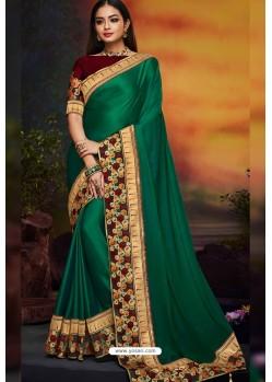 Dark Green Designer Party Wear Two Tone Heavy Satin Silk Sari