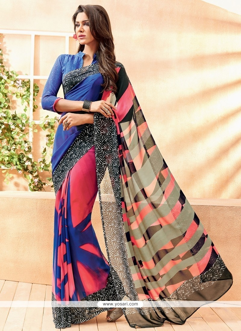 Modest Lace Work Georgette Casual Saree