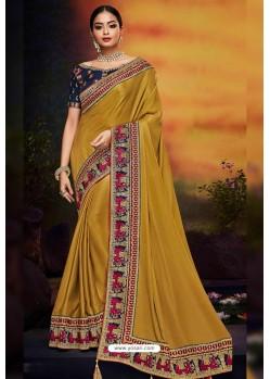 Mustard Designer Party Wear Two Tone Heavy Satin Silk Sari
