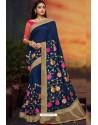 Navy Blue Designer Party Wear Two Tone Heavy Satin Silk Sari