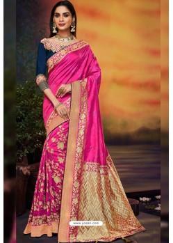 Rani Designer Party Wear Two Tone Heavy Satin Silk Sari