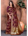 Deep Wine Designer Party Wear Lichi Silk Sari