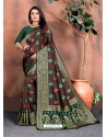 Dark Green Designer Party Wear Lichi Silk Sari