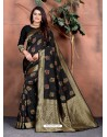 Black Designer Party Wear Lichi Silk Sari