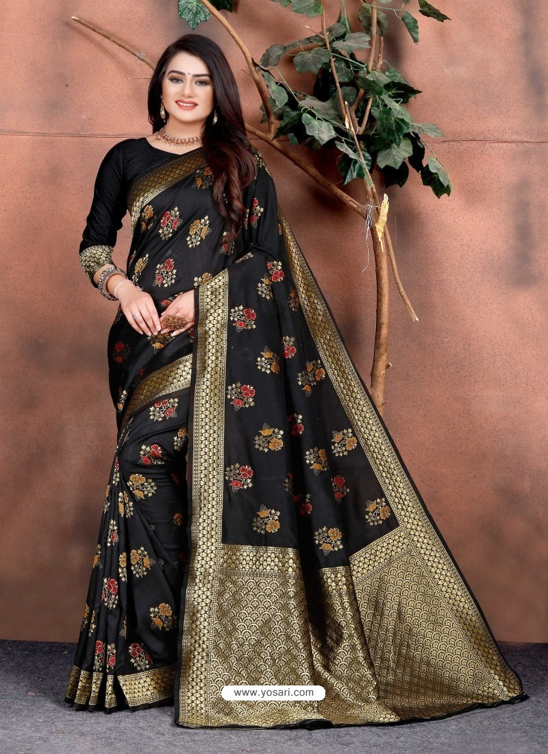 Black Designer Party Wear Lichi Silk Sari