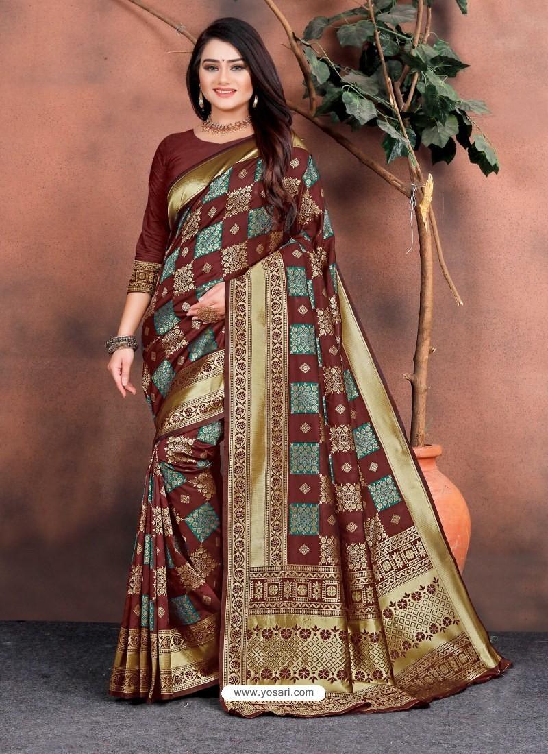Deep Scarlet Designer Party Wear Lichi Silk Sari
