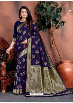 Navy Blue Designer Party Wear Lichi Silk Sari