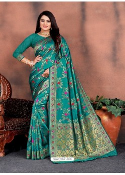 Teal Designer Party Wear Lichi Silk Sari