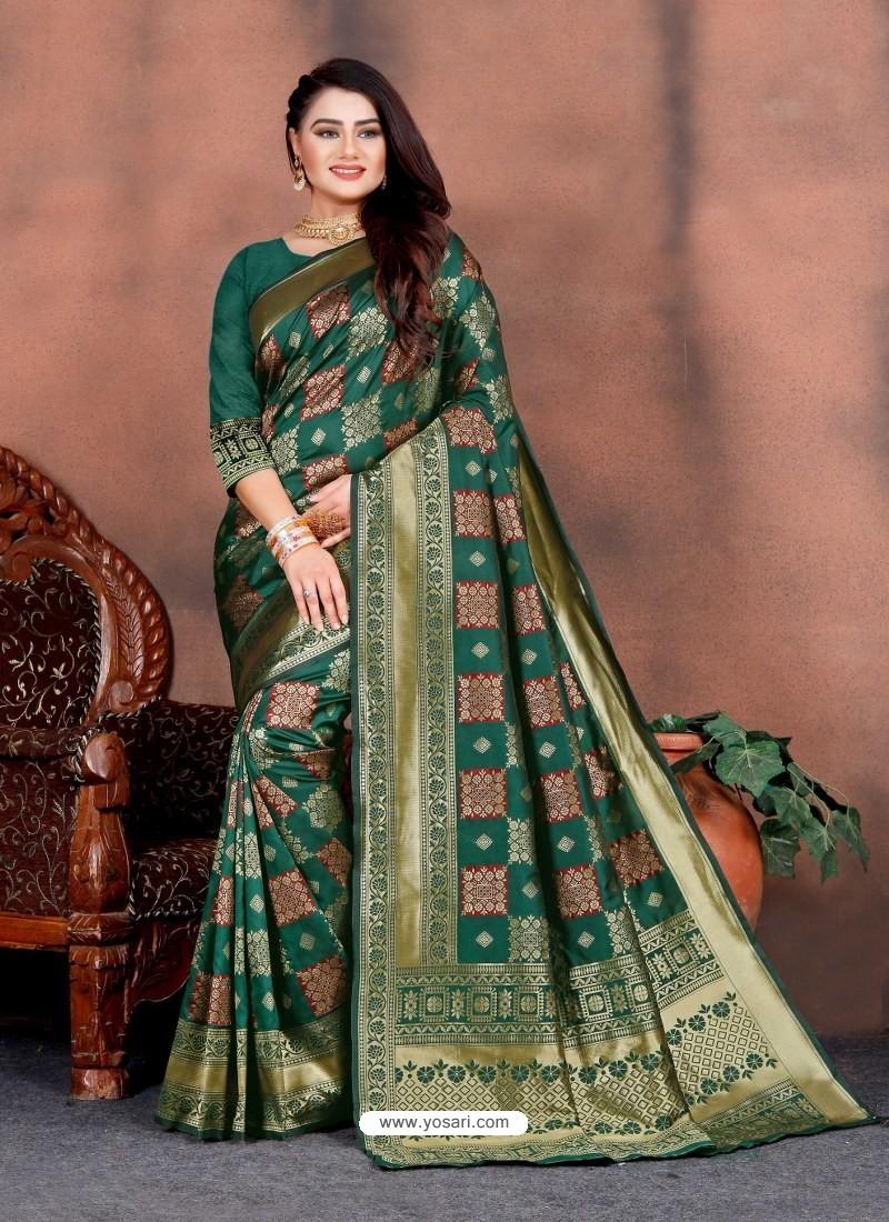 Dark Green Designer Party Wear Lichi Silk Sari