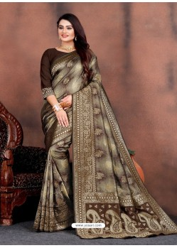Coffee Designer Party Wear Lichi Silk Sari