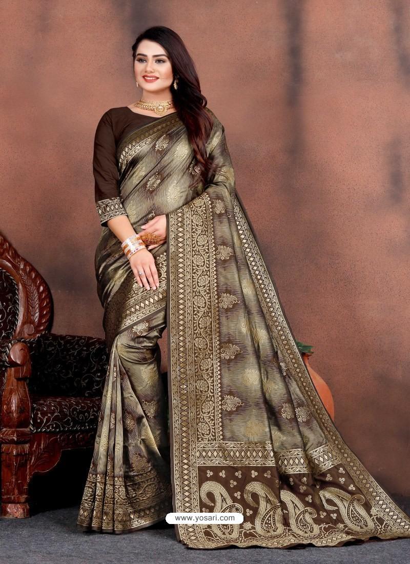 Coffee Designer Party Wear Lichi Silk Sari