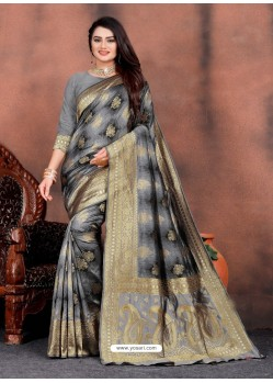Grey Designer Party Wear Lichi Silk Sari