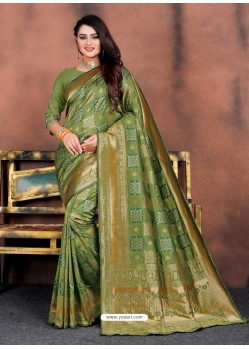 Green Designer Party Wear Lichi Silk Sari