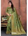 Green Designer Party Wear Lichi Silk Sari