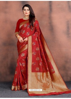 Red Designer Party Wear Lichi Silk Sari