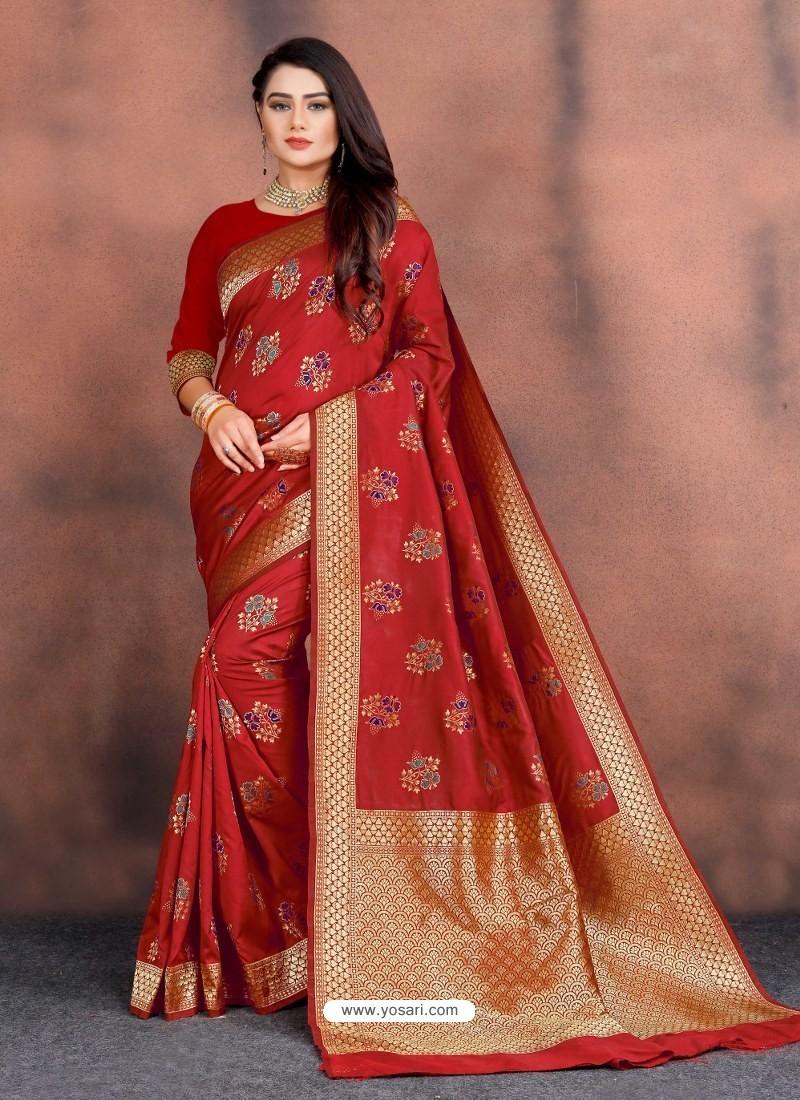 Red Designer Party Wear Lichi Silk Sari
