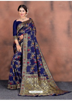 Royal Blue Designer Party Wear Lichi Silk Sari