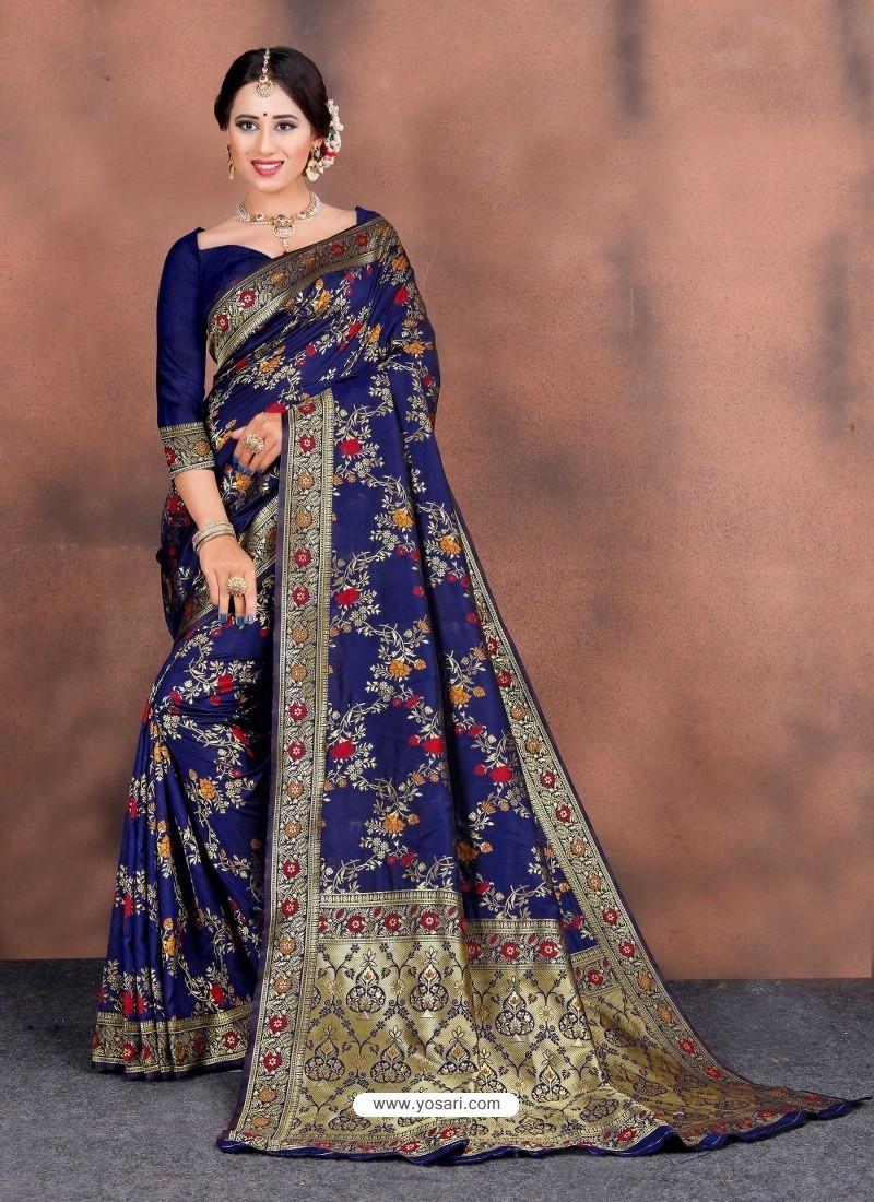 Royal Blue Designer Party Wear Lichi Silk Sari
