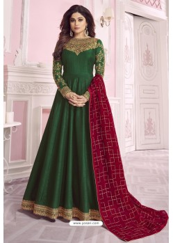 Dark Green Heavy Embroidered Pure Dola Silk Designer Anarkali Suit