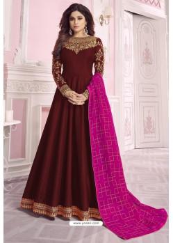 Maroon Heavy Embroidered Pure Dola Silk Designer Anarkali Suit