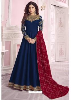 Peacock Blue Heavy Embroidered Pure Dola Silk Designer Anarkali Suit
