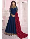 Peacock Blue Heavy Embroidered Pure Dola Silk Designer Anarkali Suit
