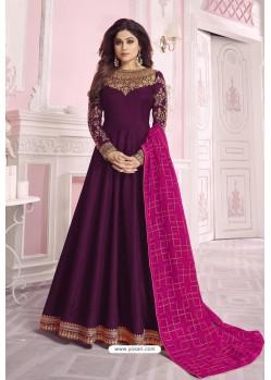 Purple Heavy Embroidered Pure Dola Silk Designer Anarkali Suit