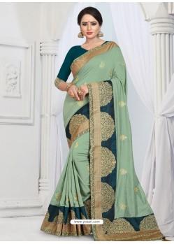 Sea Green Party Wear Heavy Embroidered Soft Art Silk Sari