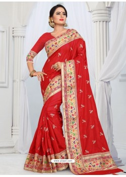 Red Party Wear Heavy Embroidered Soft Art Silk Sari