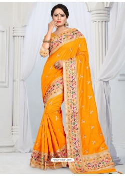 Yellow Party Wear Heavy Embroidered Soft Art Silk Sari