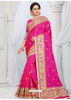 Rani Party Wear Heavy Embroidered Soft Art Silk Sari