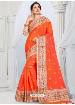 Orange Party Wear Heavy Embroidered Soft Art Silk Sari