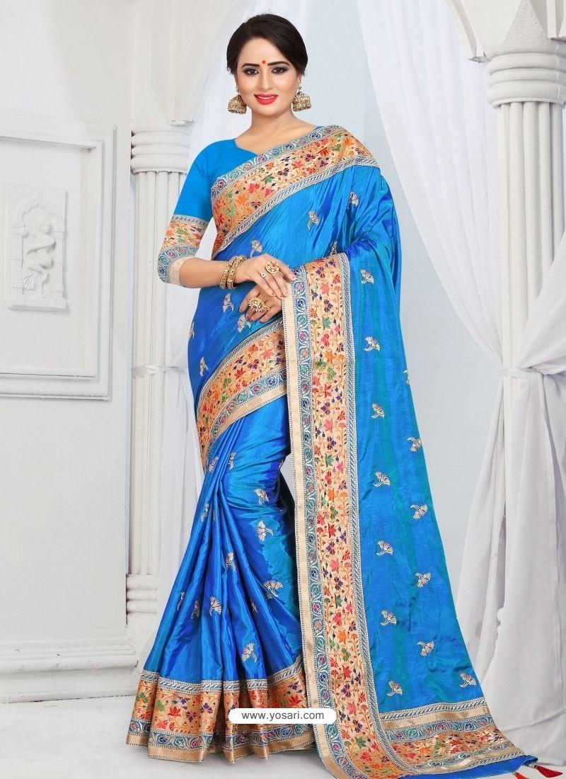 Blue Party Wear Heavy Embroidered Soft Art Silk Sari