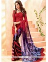 Stunning Faux Chiffon Multi Colour Lace Work Casual Saree