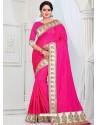 Fuchsia Party Wear Heavy Embroidered Soft Art Silk Sari