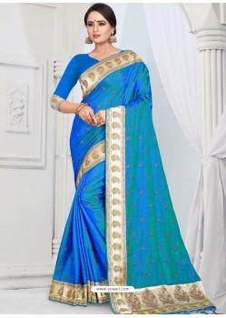 Blue Party Wear Heavy Embroidered Soft Art Silk Sari