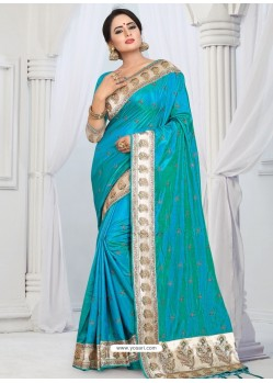 Turquoise Party Wear Heavy Embroidered Soft Art Silk Sari