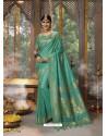 Aqua Mint Designer Blended Cotton Jacquard Banarasi Silk Party Wear Sari
