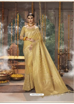 Gold Designer Blended Cotton Jacquard Banarasi Silk Party Wear Sari