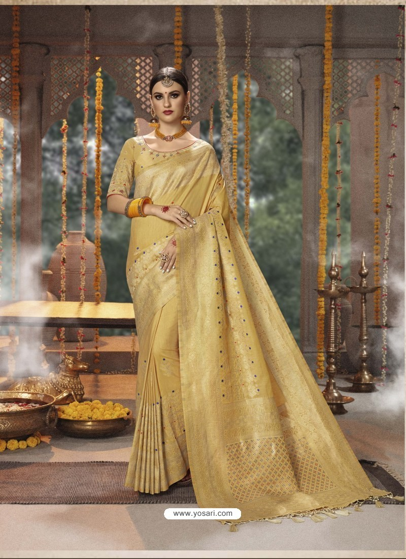Gold Designer Blended Cotton Jacquard Banarasi Silk Party Wear Sari