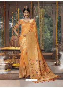 Orange Designer Blended Cotton Jacquard Banarasi Silk Party Wear Sari