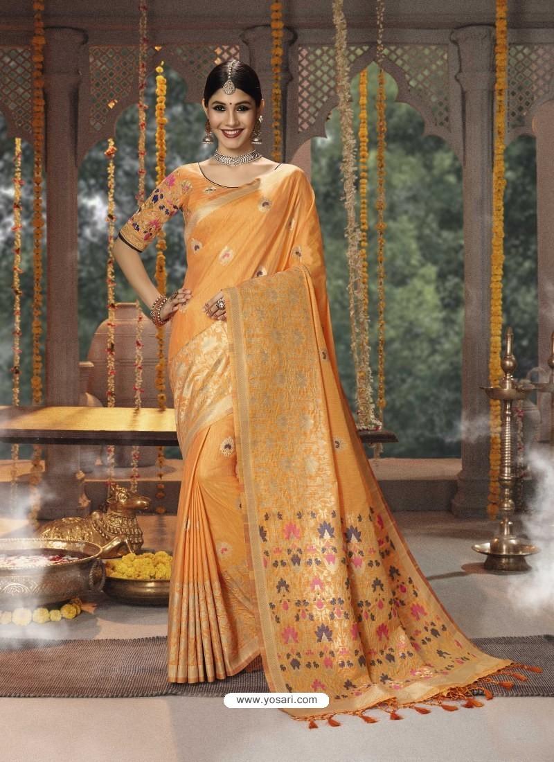 Orange Designer Blended Cotton Jacquard Banarasi Silk Party Wear Sari