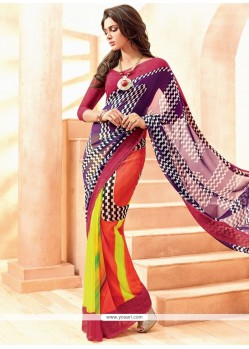Modest Print Work Multi Colour Georgette Casual Saree