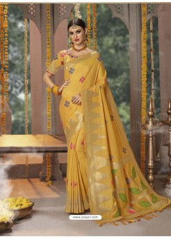 Yellow Designer Blended Cotton Jacquard Banarasi Silk Party Wear Sari