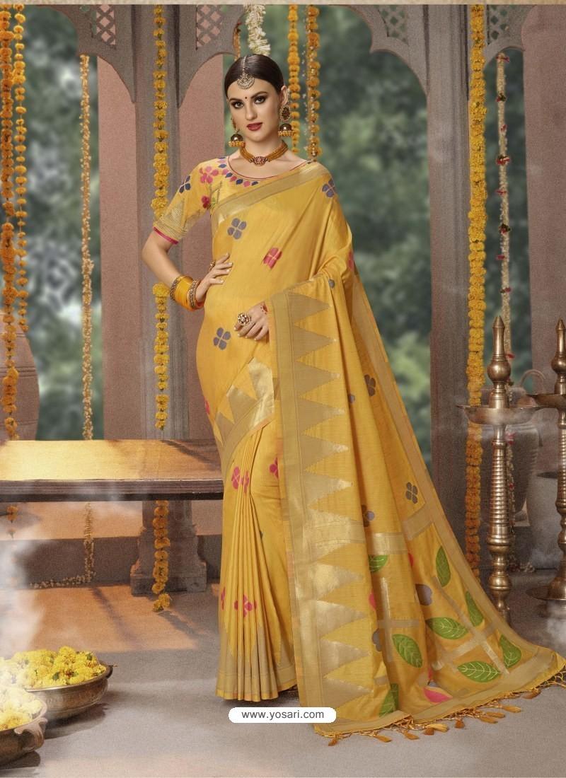 Yellow Designer Blended Cotton Jacquard Banarasi Silk Party Wear Sari