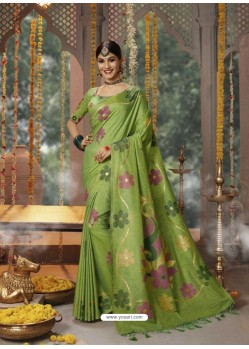 Parrot Green Designer Blended Cotton Jacquard Banarasi Silk Party Wear Sari