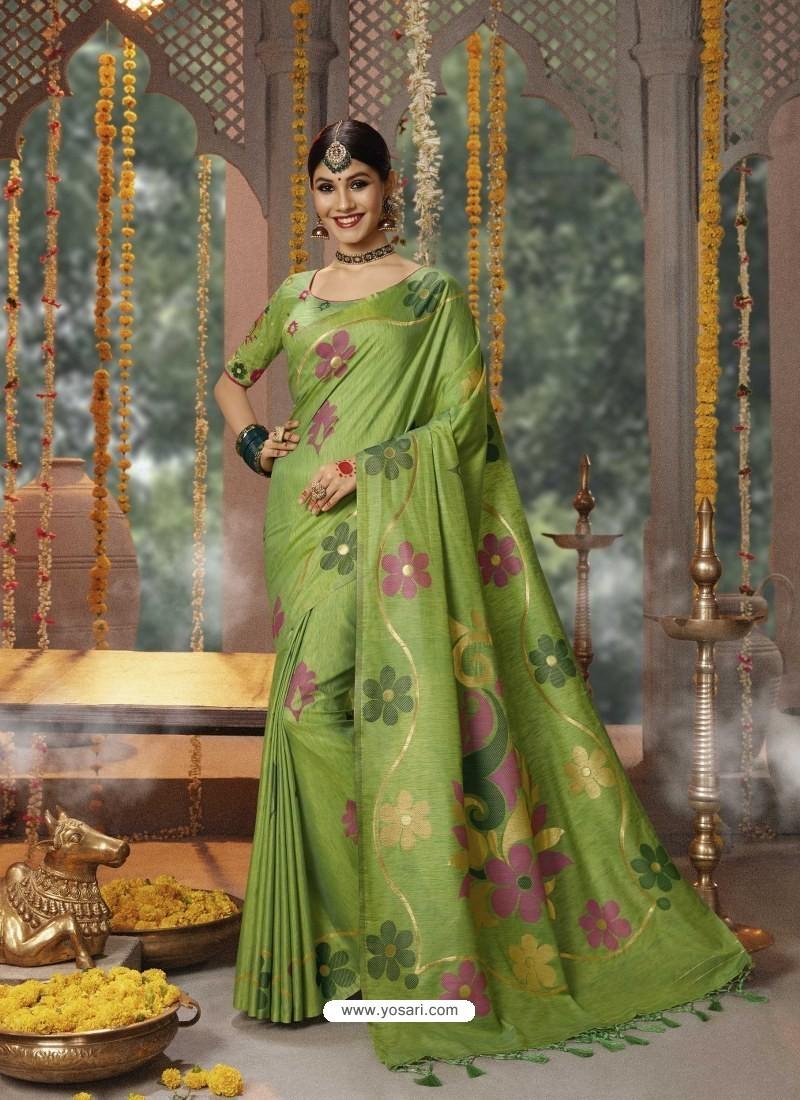 Parrot Green Designer Blended Cotton Jacquard Banarasi Silk Party Wear Sari