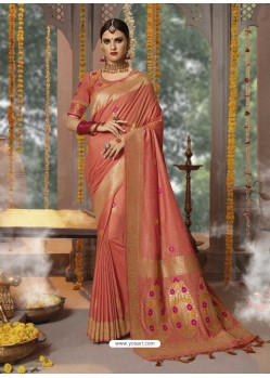 Rust Designer Blended Cotton Jacquard Banarasi Silk Party Wear Sari