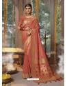 Rust Designer Blended Cotton Jacquard Banarasi Silk Party Wear Sari